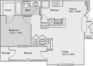 726 sq. ft. Acacia floor plan