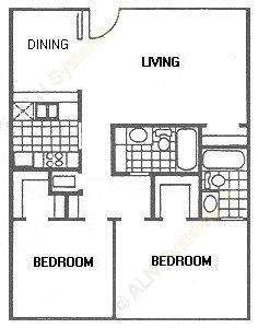 884 sq. ft. G floor plan