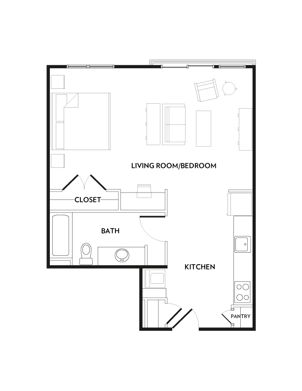 634 sq. ft. E4 floor plan