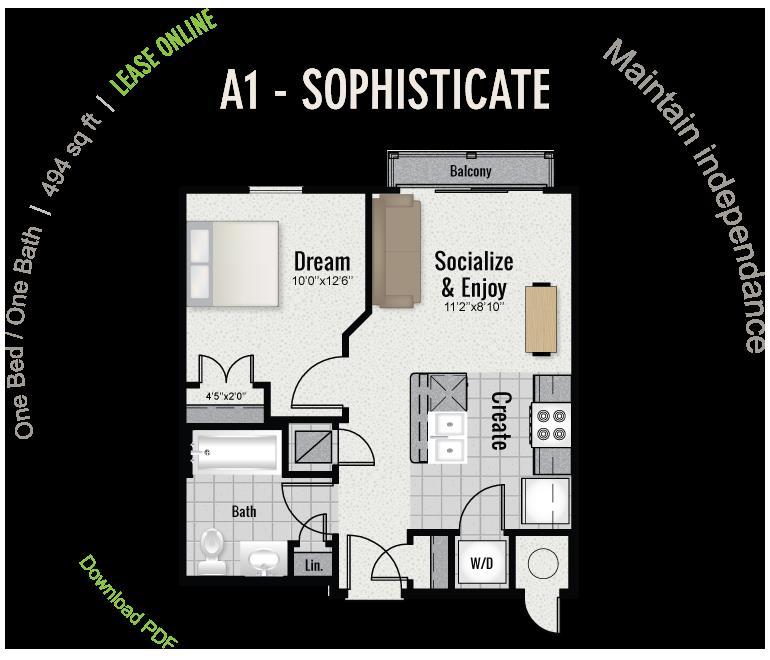 494 sq. ft. A1 floor plan