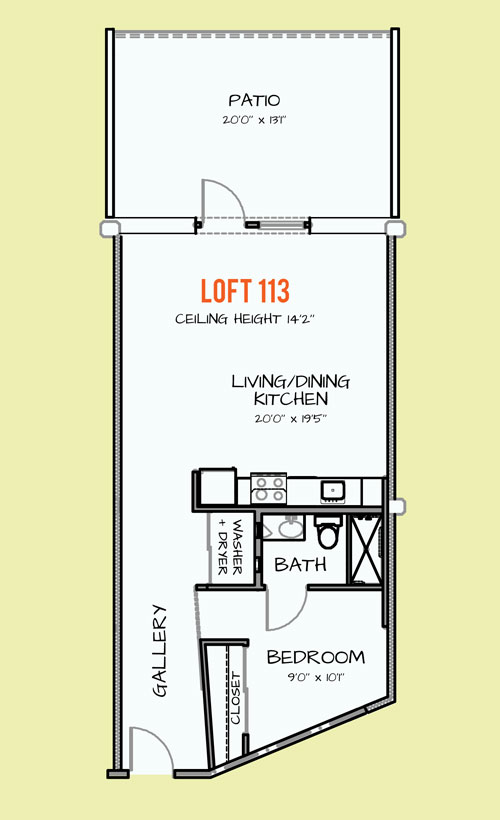 857 sq. ft. 306 floor plan