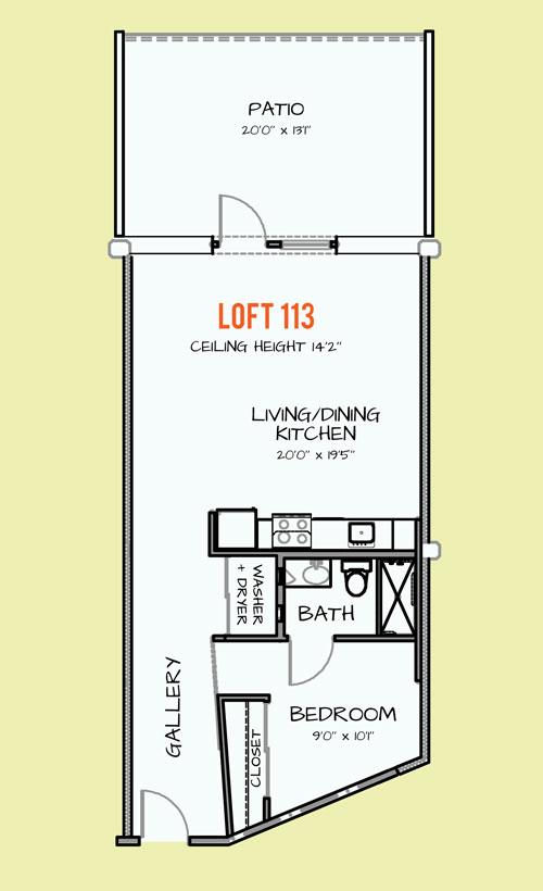 857 sq. ft. 306 floor plan