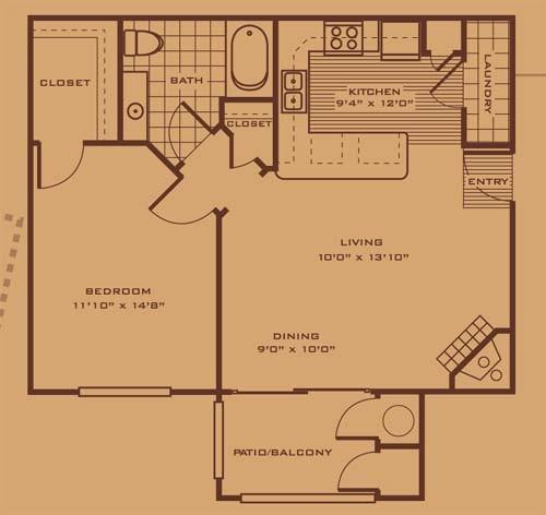 792 sq. ft. A2 floor plan