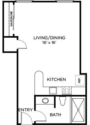 508 sq. ft. A3 floor plan