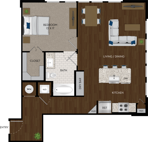 853 sq. ft. A6 floor plan