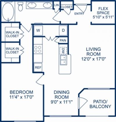 911 sq. ft. HOUSTON floor plan