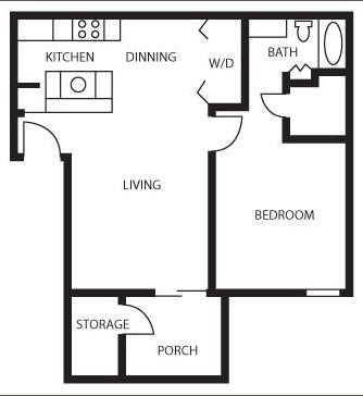 604 sq. ft. Crape Myrtle floor plan