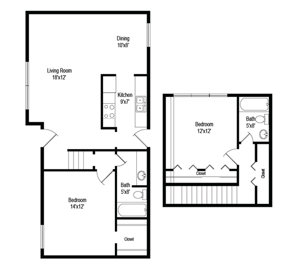 1,030 sq. ft. B5 floor plan