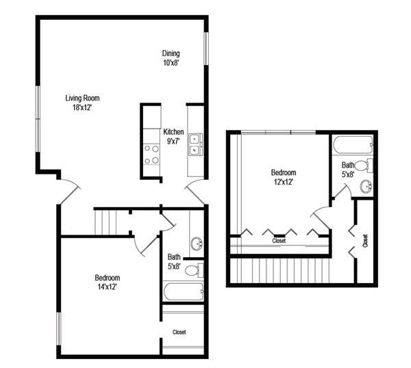 1,030 sq. ft. B5 floor plan