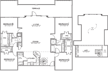 2,100 sq. ft. floor plan