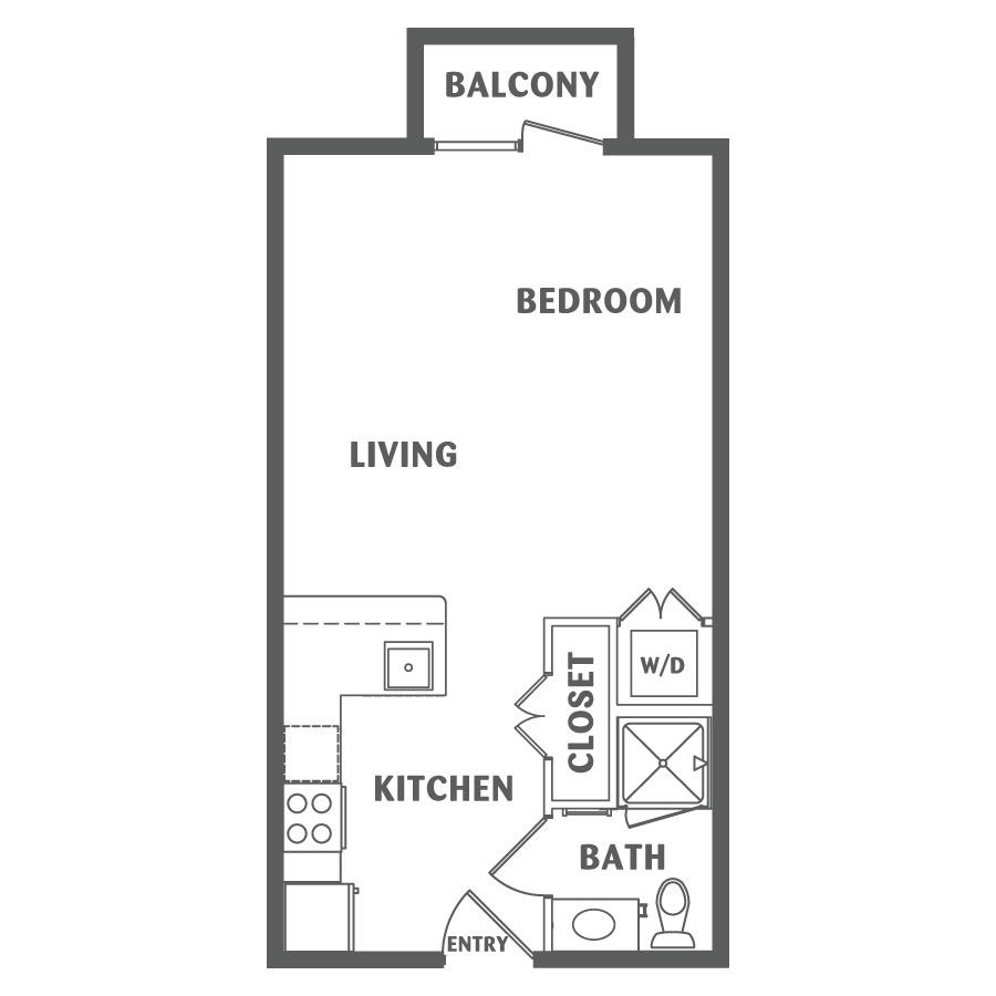 495 sq. ft. E1 floor plan
