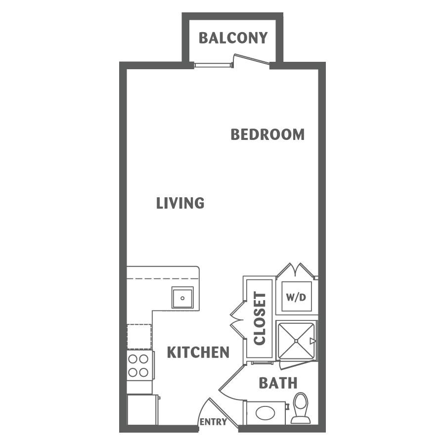 495 sq. ft. E1 floor plan