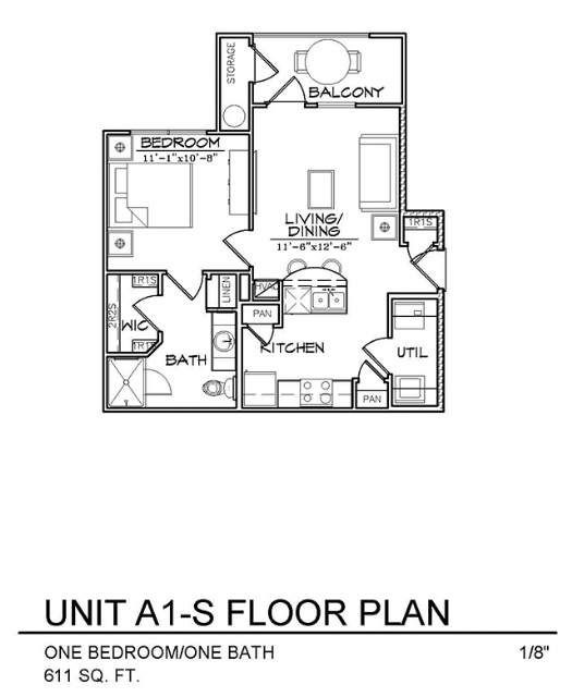 611 sq. ft. to 612 sq. ft. A1S floor plan