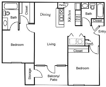 911 sq. ft. B4 floor plan