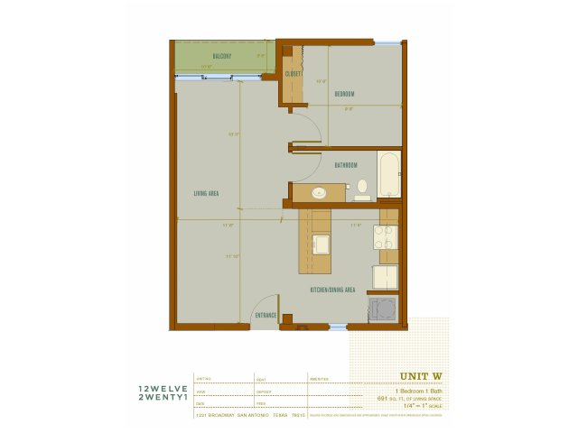 691 sq. ft. W floor plan