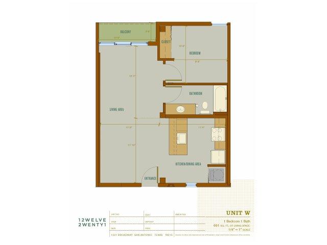 691 sq. ft. W floor plan