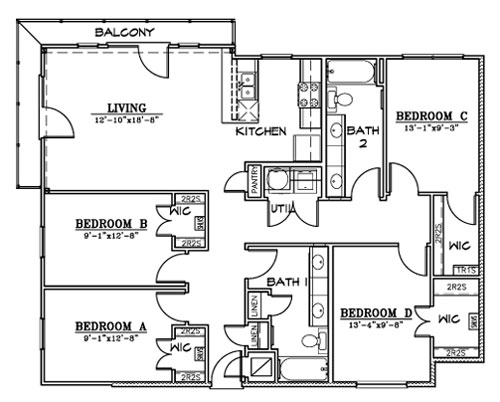 1,431 sq. ft. D1 floor plan