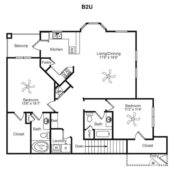 1,523 sq. ft. C2L-2G floor plan