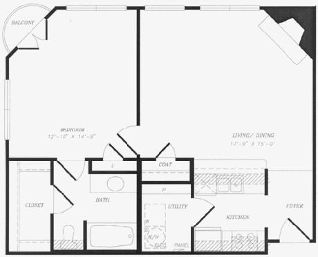 755 sq. ft. to 935 sq. ft. floor plan