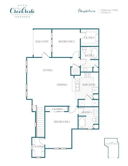 1,238 sq. ft. to 1,297 sq. ft. Dandelion floor plan