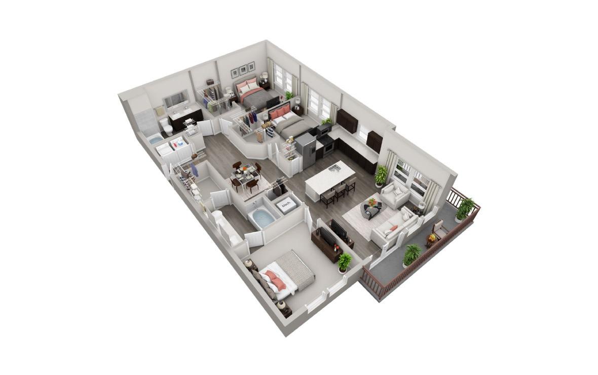 1,368 sq. ft. C2 floor plan