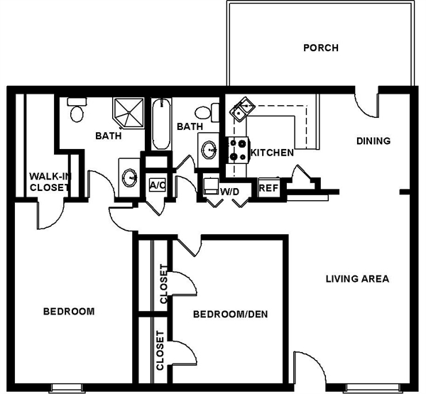 1,126 sq. ft. FOSTER floor plan