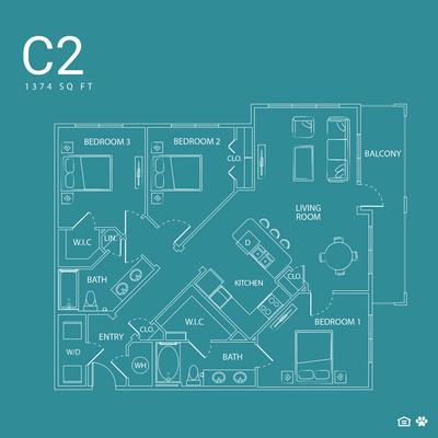 1,374 sq. ft. C2 floor plan