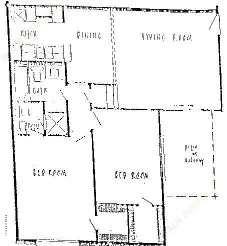 912 sq. ft. B3 floor plan