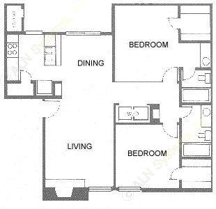 970 sq. ft. Tudor/B2 floor plan