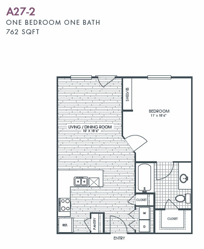 762 sq. ft. A27-2 floor plan