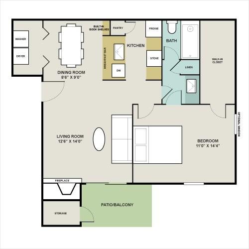 667 sq. ft. D floor plan