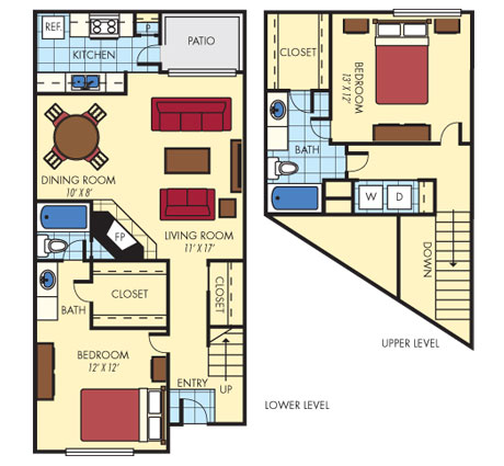 1,174 sq. ft. B3 floor plan