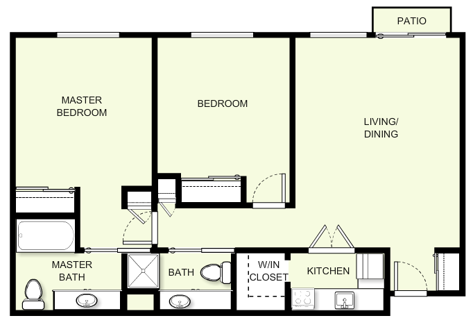 887 sq. ft. floor plan