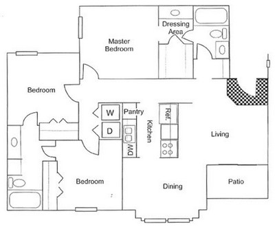 1,095 sq. ft. C2 floor plan