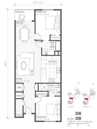 1,180 sq. ft. B4 floor plan