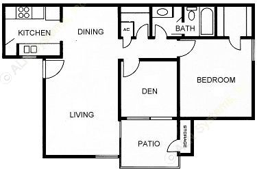 795 sq. ft. C-DEN floor plan
