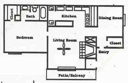 825 sq. ft. Manor floor plan