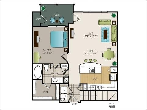 829 sq. ft. to 877 sq. ft. floor plan