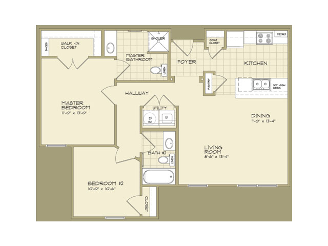 925 sq. ft. 60% floor plan