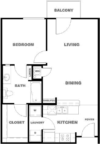1,212 sq. ft. ALMR floor plan