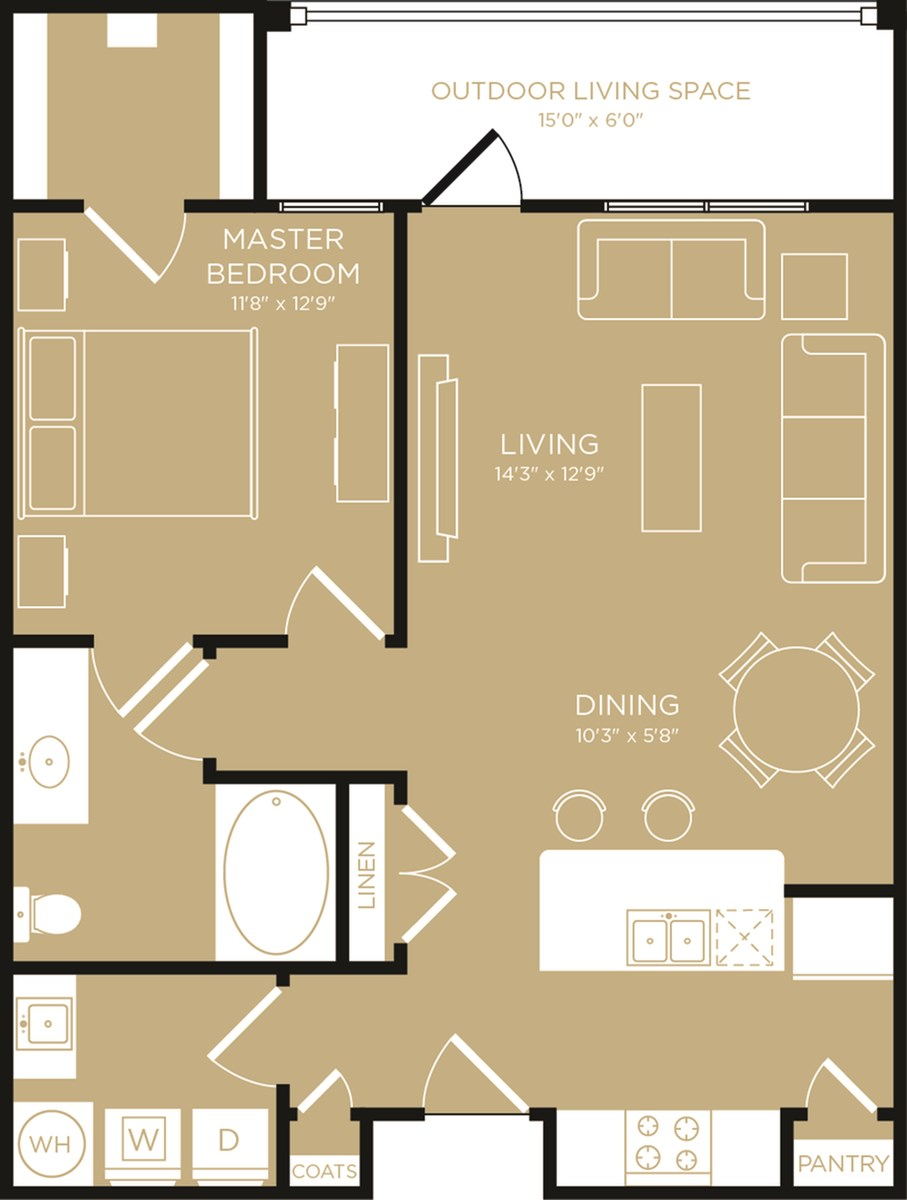 768 sq. ft. Escape floor plan