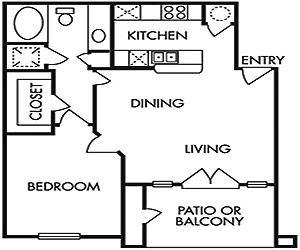 707 sq. ft. A floor plan