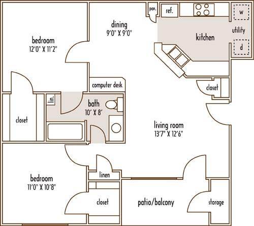 854 sq. ft. LIVE OAK/60% floor plan