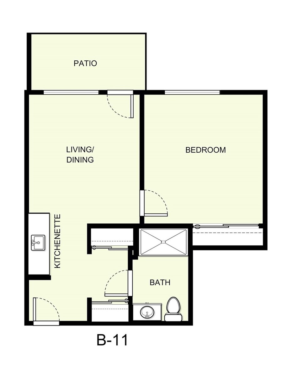 569 sq. ft. B11 floor plan