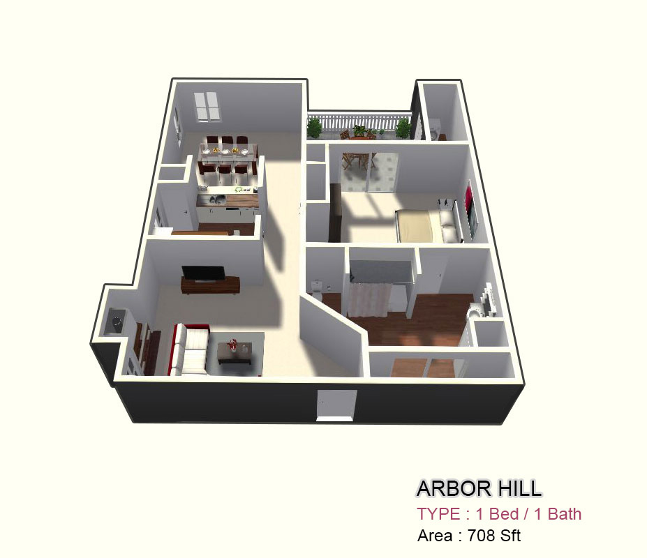 708 sq. ft. 1C floor plan