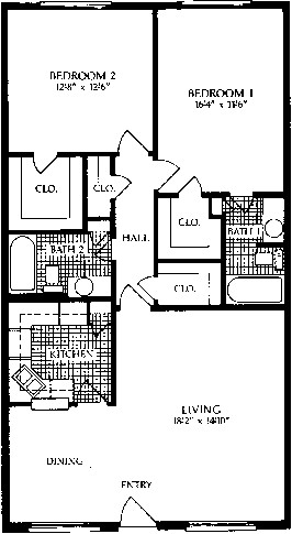 1,064 sq. ft. D floor plan