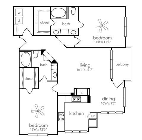 1,236 sq. ft. Presidio floor plan