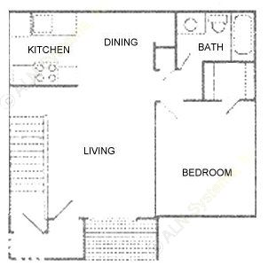 700 sq. ft. Plan C floor plan