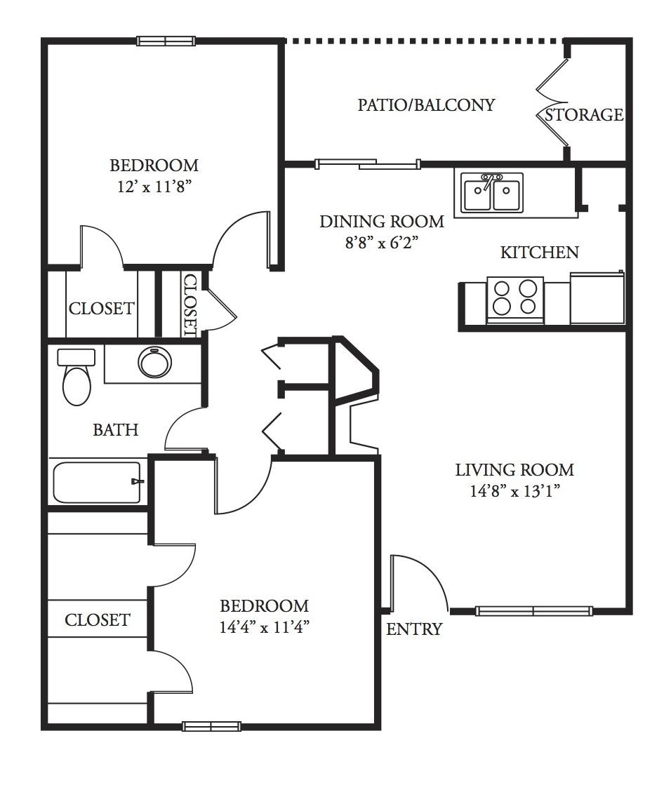 858 sq. ft. Grenache floor plan