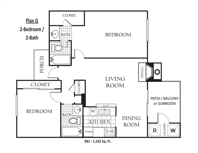 981 sq. ft. to 1,102 sq. ft. G floor plan